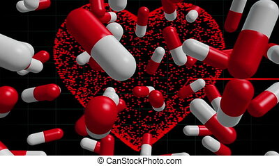 Pills on ECG line background 2 - Pills on ECG line...