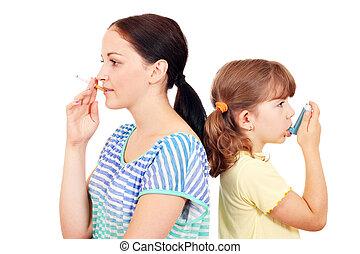 girl smoking cigarette and little girl use inhaler