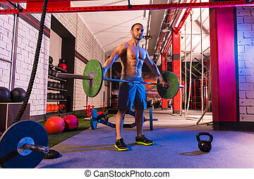 Barbell weight lifting man workout exercise gym