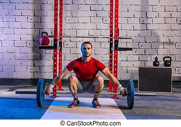 Barbell weight lifting man weightlifting workout exercise...