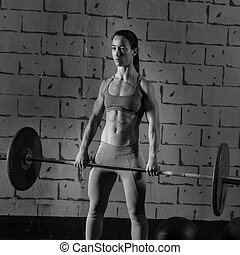 Barbell weight lifting woman workout weightlifting
