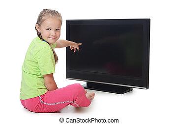 The little girl looks lsd tv
