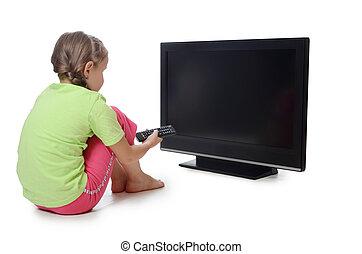 tv,  LSD, pequeno, menina, olha