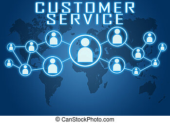 Customer Service concept on blue background with world map...