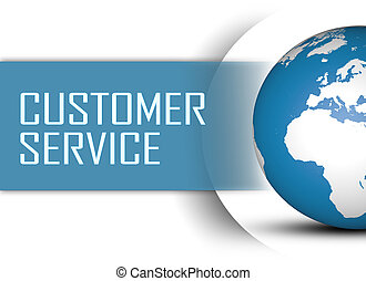 Customer Service concept with globe on white background