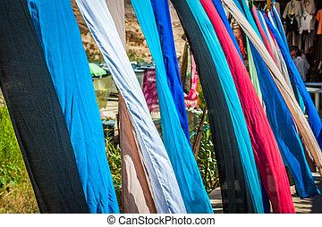 Colorful fabrics for sale in Chebika,Tunisia