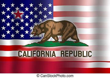 Waving USA and California State Flag