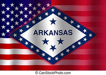 Waving USA and Arkansas State Flag