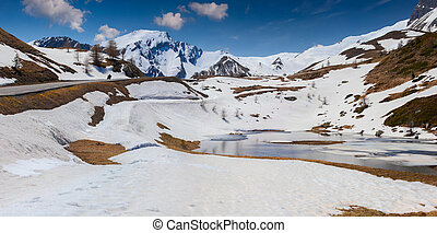 Lake on the pass Col De Vars, Alps, France, early spring.