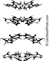 Set of tribal tattoo elements isolated on white