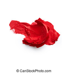 Smudged lipstick - Smudged red lipstick isolated on white...