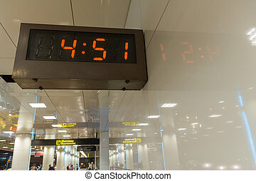 Clock at an international airport