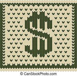 Knitted dollar scheme - Knitted dollar green beige scheme...