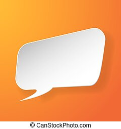 Abstract paper speech bubble on orange background