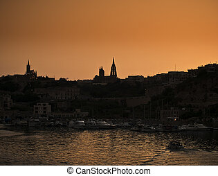 Mgarr Harbour at Dusk - View from outside Mgarr Harbour on...