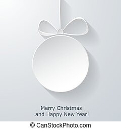 Xmas greeting card with abstract paper Christmas ball