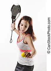 Woman ready for paddle tennis serve - Young woman ready for...