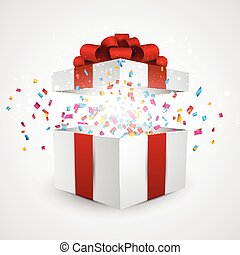 Gift box with confetti. - Opened 3d realistic gift box with...
