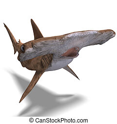 hammerhead shark - 3D rendering of a hammerhead shark with...