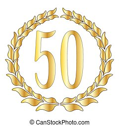 50th Anniversary - A 50th anniversary symbol over a white...