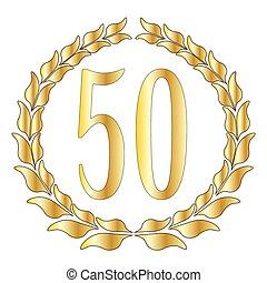 50th Anniversary - A 50th anniversary symbol over a white...
