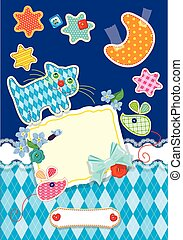 Card for children - frame, cat, mouse, stars and moon are made o