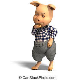 mignon, dessin animé, cochon, vêtements