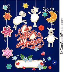 Baby shower card with stars, moon, sheep and hearts. Handwritten