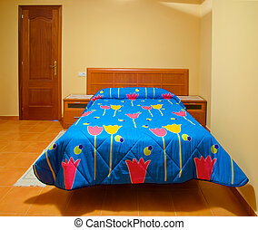 Empty bed - A beautiful empty bed of a small hotel in North...