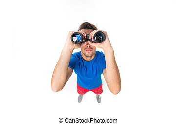 portrait of young man with binoculars over white background....