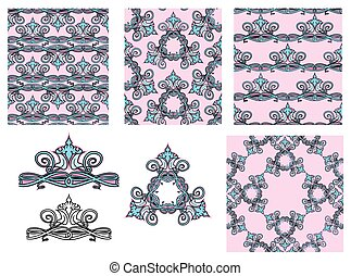 set of seamless patterns - floral ornaments and elements.