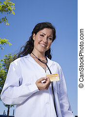 doctor with credit card
