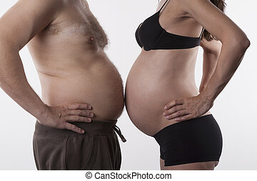 pregnant vs fat - pregnant woman and fat man top nude on...