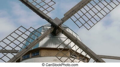 Closer look of the steel blades of the old windmill It is...