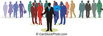 People Network - People in four line color silhouette