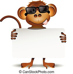 monkey with sunglasses - illustration merry monkey with...