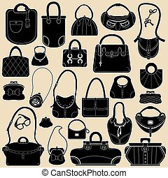 Set of woman bags and handbags. Black and white colors...