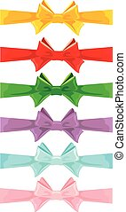 Set of different colors bows isolated on white background