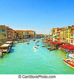 Venice grand canal or Canal Grande, view from Rialto bridge....