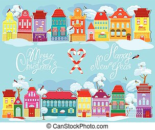 Christmas and New Year holidays card with small fairy town on li
