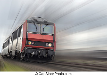 passenger train with speed effect and copyspace
