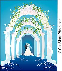 wedding, - the composition of the newlyweds standing in the...