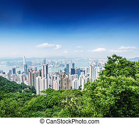 Panoramic view of Hong Kong cityscape on a beautiful sunny...