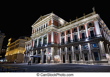 Austria, Vienna, concert hall, night view