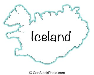 Iceland - Outline map of Iceland over a white background
