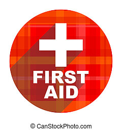 first aid red flat icon isolated