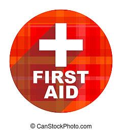primeiro, ajuda, vermelho, apartamento, ícone,...