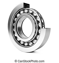 Ball bearing isolated on white background 3d rendering image...