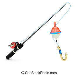 Fishing rod isolated on white background. 3d rendering image