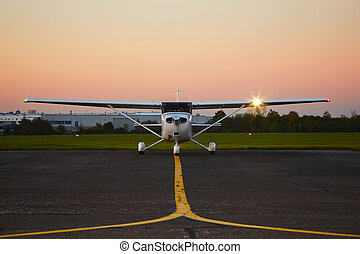 Private plane - Young pilot is preparing for take off with...
